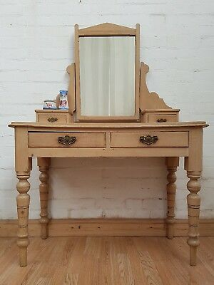 Gorgeous Antique Stripped Pine Dressing Table With Mirror