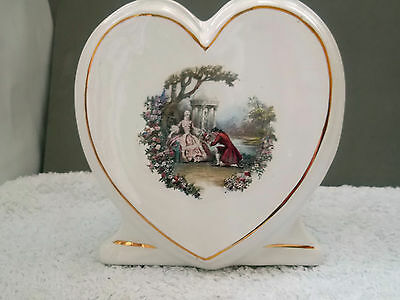 ? 1901 - 15 Heart Shaped Spill Jar / Posy Bowl  With A Lovers Scene Both Sides