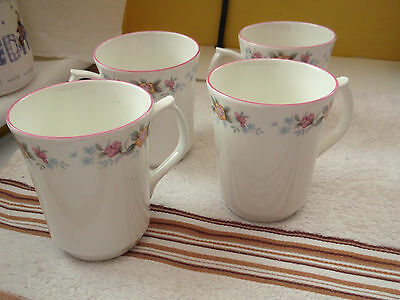 Four Jason China Mugs With A Floral Pattern To Rim    Pink Trim