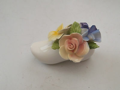 Miniature Aristocrat China Clog  With Flowers Rose, Carnation And Pansy