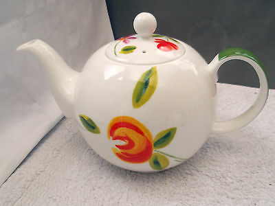 Crown Trent China Teapot  With A Red & Orange Flower  Pattern  Holds Two Pints