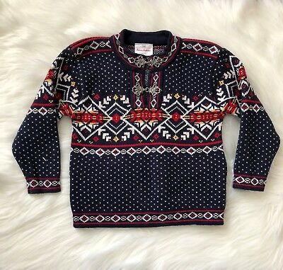 Hanna Andersson Size 100 4 Blue Red Fair Isle Nordic Pullover Sweater