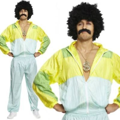 Mens Adult 80s Scouser Shell Suit Fancy Dress Costume Tracksuit Stag Do Jimmy