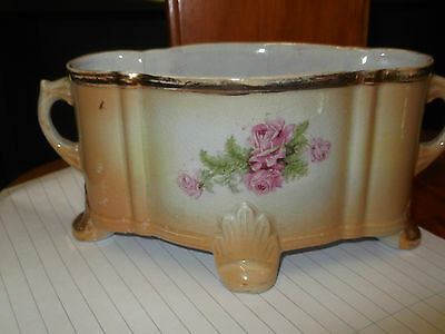 Vintage Twin - Handled Small Shaped Oval Planter On Feet With A Floral Pattern