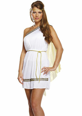 Sexy Ladies Roman Woman Toga Greek Goddess Costume Fancy Dress Outfit 8/10/12