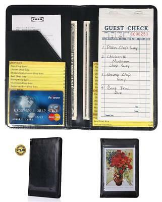 NEW Mymazn Waiter Book Server Wallet 100% Leather Organizer For Waitress Black