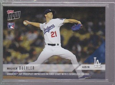 2018 Topps NOW MLB 119 Walker Buehler Dodgers Top Prospect Impresses First Start