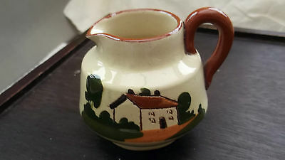 Small Watcombe Pottery Motto Ware Jug   Waste Not Want Not