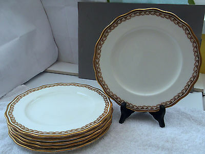 6 1905 - 20 Cauldon Pottery Salad Plates   Retailed By Harrods  Gold Pattern