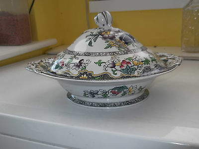 Vintage Minton Twin - Handled, Footed, Lidded Tureen  With A Floral Pattern