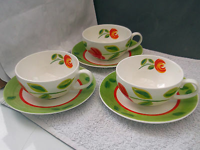 Three Crown Trent Cups Anf Saucers With A Colourful Floral Pattern