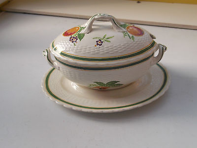 Oval Minton Lidded Sauce Tureen And Underplate  With A Fruit And Flower Pattern