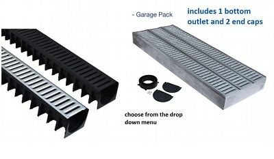 garage pack 3 x 1m channel with plastic /galvanised grating Drainage Channel