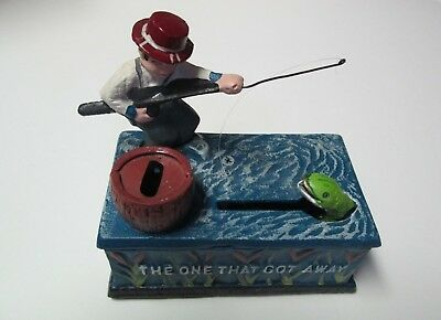 Mechanical Coin Bank Die-Cast Iron The Fisherman The One that Got Away
