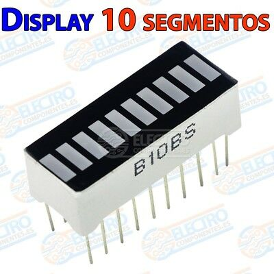 Display Barra LED 10 segmentos color ROJO - Arduino Electronica DIY