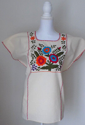 Mexican Embroidered Blouse Women's Medium Large Lg Floral Handmade Peasant Top