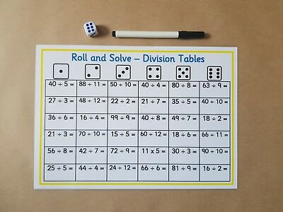 ROLL AND SOLVE Division Tables, KS2 Numeracy, maths teaching ...