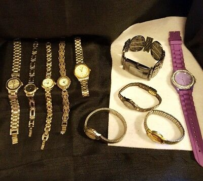 Woman's Watches Lot of 11, New, Vintage, Parts, Gold and silver tone