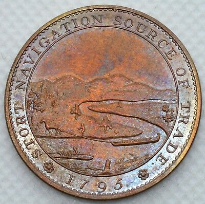 Uk Token 1/2 Penny 1795 Herts Bishops Stortford Sir George Jackson Uncirculated