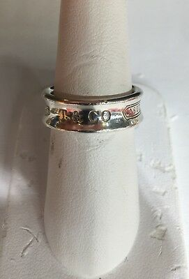 "Tiffany & Co. Sterling Silver 1837 Concave Band Ring Size 7.25 1/4"" Wide"