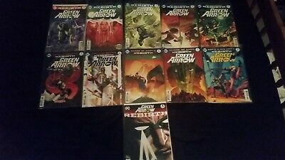 DC Comics Green Arrow Rebirth 1 and issues 1 - 10 (11 comic set all bagged - NM)