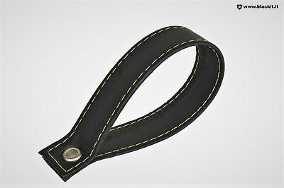 Handle trunk black leather embroidery yellow