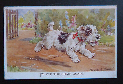 """Dog Postcard, Terrier - """"I'm Off the Chain Again"""", Artist Florence E Valter"""