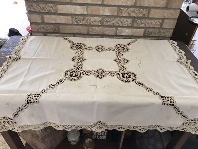 vintage beige linen embroidery-lace tablecloth Hand Made Victorian 41x41