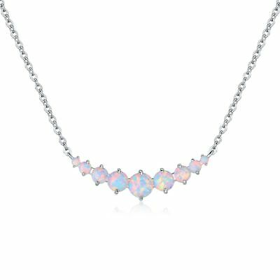 18K White Gold Plated & White Fire Opal Graduated Necklace
