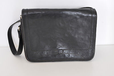 Vintage Black Real Thick Leather Shoulder Hand Bag Italy Rectangle Small