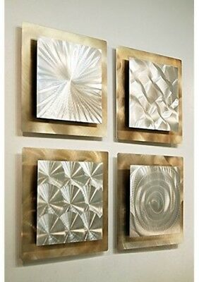 Metal Wall Art Panels Set Of 4 Gold Silver Modern Abstract Square Home Decor  12