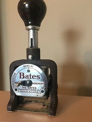 Vintage Bates Numbering Machine Stamp, 6 Wheels Style E In Box