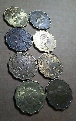 COIN LOT FOREIGN Hong Kong 20 cents (8) coins