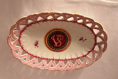 Antique French Faience Colorful Oval Dish With Monogram And Trademark Mark