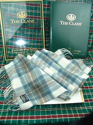 THE CLANS PHILLIP MacCOLL LAMBSWOOL NECK SCARF MUTED BLUE DRESS STEWART SCOTLAND