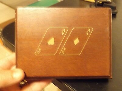 Vintage Antique Automobile Car Playing Cards Set In Storage Wooden Box.
