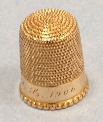 "Antique 10K Solid Yellow Gold Thimble Engraved ""GRL1906"" 3.0 Grams  #G163"