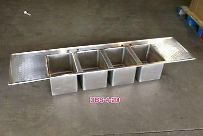 Stainless Steel 4 Bowl Drop In Bar Sink with 2 Drain Boards