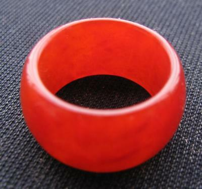aged natural AA red jade  hand carved  band ring sz11-11.5 classic jade