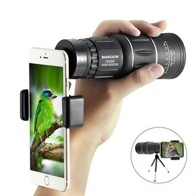 Monocular Telescopio 16x52 Prisma BAK4 Day Night Vision+Tripode, impermeable
