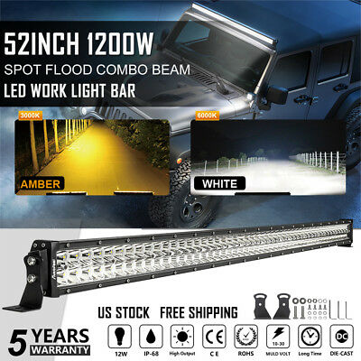 """52"""" inch 1200W CURVED LED Light Bar COMBO Dual Color Lamps Fit For Ford Jeep 50"""""""