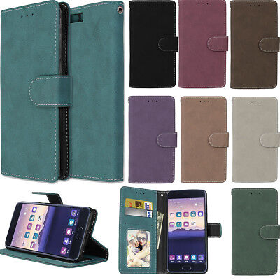 Retro Scrub Leather Magnetic Stand Card Solt Wallet Case Cover For Various Phone