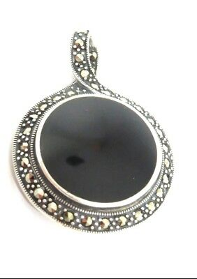 925 Sterling Silver Antique Style Black Onyx Pendant Round