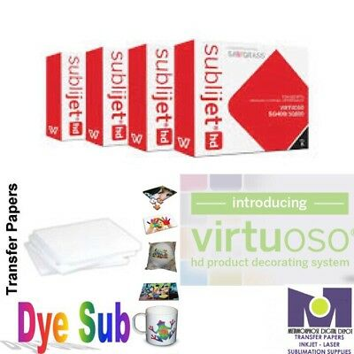 Sawgrass Virtuoso Ink Cartridges SG400/SG800 (CMYK) Set+200 Sheets Dye Sub Paper