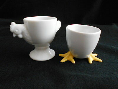 Pair Of Ceramic Egg Cups Footed En And Bia Feet