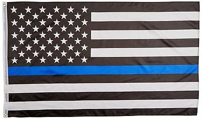 Thin Blue Line Flag 3x5 Ft - United States Police Enforcement - American USA US