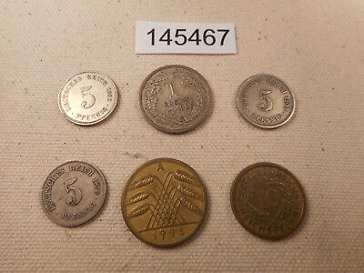 Lot - Six (6) German Type Coins 1870's-1920's - Collector Grade Coins - # 145467
