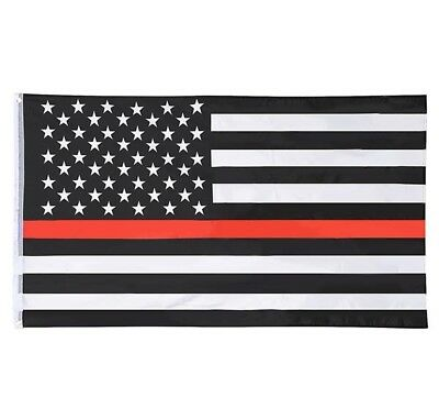 3' x 5' Thin Red Line American Flag - Fire Fighter Firefighter - Fireman Stripe