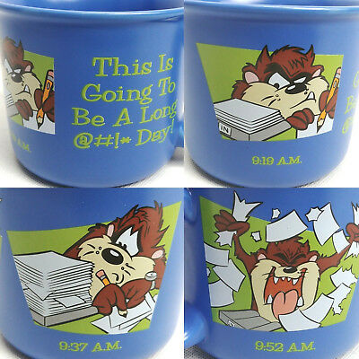 VINTAGE Taz This is Going To Be A Long Day Coffee Mug Cup Blue Looney Tunes Gift