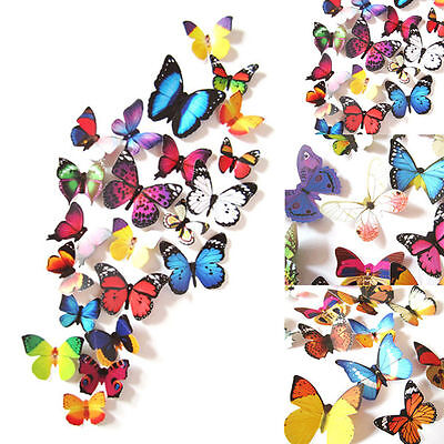 96pcs 3D Butterfly Design Decal Art Wall Stickers Room Decorations Home Decor